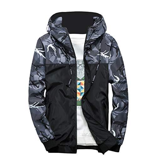 Slim Activewear Di Fit Grigio Incappucciato Tasca Uomini Zip Camo Energia Con Bomber tqCdnXwnB