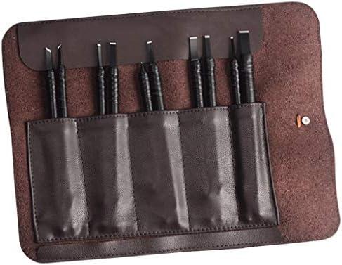 タングステン鋼 彫刻ナイフ シール彫刻ツールハンド彫刻刀 全4タイプ - レザーバッグ付き10個