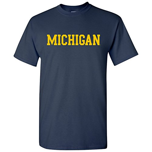 Michigan Wolverines Basic Block T-Shirt - Medium - Navy