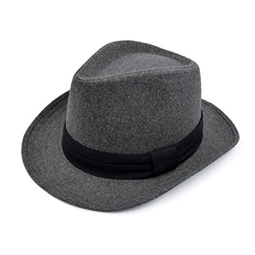 Unisex Classic Solid Color Wide Brim Felt Fedora Hat w/ Black Band, (Classic Solid Wide Band)