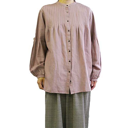 大きさ病気啓発するYARRA (ヤラ) YR-84-028  ピンタックマオカラーシャツ 着丈が長めのチュニックシャツ  -ラベンダー-