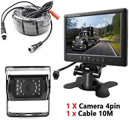 反転カメラ7インチスクリーンモニターキット反転画像有線トラックカメラ4ピンシステムケーブル10m HDディスプレイ