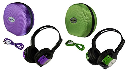 2 Pack Kid Sized Wireless Infrared Universal Car DVD IR Automotive Colored Adjustable 2 Channel Headphones With Case and 3.5mm Auxiliary Cord by Wisconsin Auto Supply