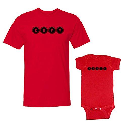 We Match! Copy & Paste T-Shirt & Bodysuit Set (12 Months Bodysuit, T-Shirt Medium, Red)