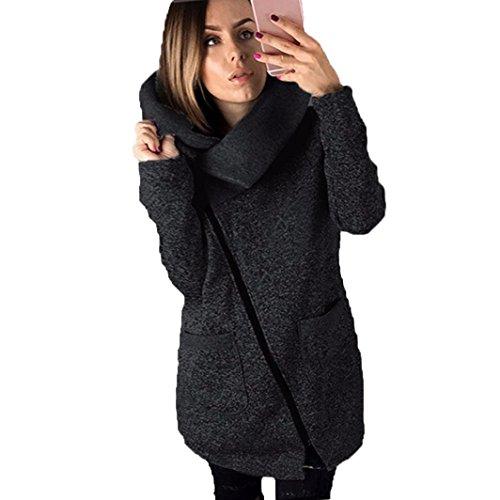 Oyedens Women Winter Warm Hoodie Sweatshirt Zipper Hoody Outerwear Jacket Coat Black