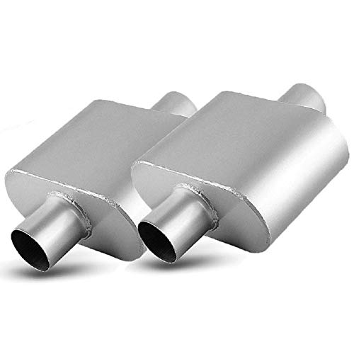 (2.5 Inch Single Chambered Universal Mufflers, AUTOSAVER88 High Performance Stainless Steel Race Muffler 2.5 Center IN / 2.5 Center OUT- Amazing Sound)