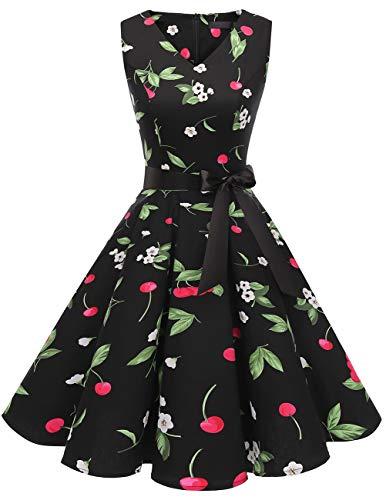 Bridesmay Women's V-Neck Audrey Hepburn 50s Vintage Elegant Floral Rockabilly Swing Cocktail Party Dress Black Small Cherry L ()