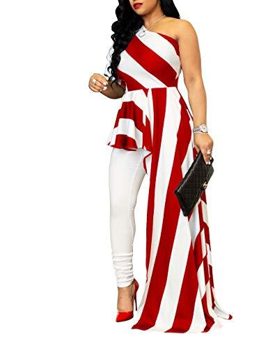 Striped Puff Sleeve Top - SEBOWEL Women's One Shoulder Striped Tunic Tops Peplum High Low Irregular Blouse Shirt Maxi Dress, Wine Red, Medium