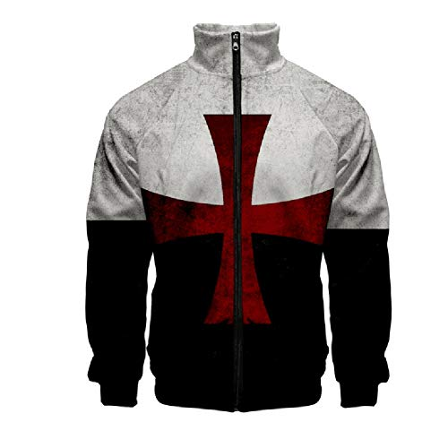 - Hacos Knights Templar Hoodie Crusader Cross Zip Jacket Vintage Medieval Knight Sweater Sweatshirt