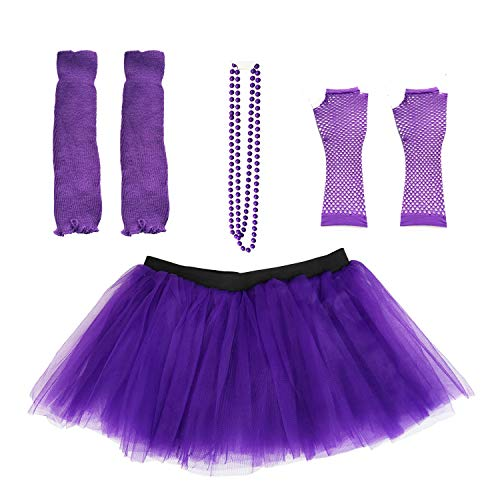 Dreamdanceworks 80s Fancy Costume Set - TUTU & LEG WARMERS & FISHNET GLOVES & BEADS (Purple)