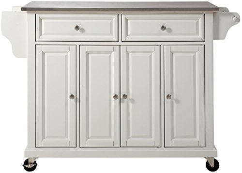 Crosley Furniture Rolling Kitchen Island with Stainless Steel Top - White
