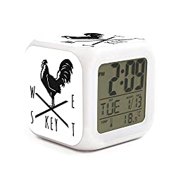 Key West, Florida Rooster Alarm Clock Displays Time Date and Temperature Soft Nightlight for Kids Home Office Bedroom Heavy Sleepers
