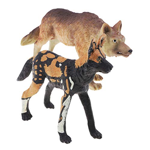 (Prettyia Pack of 2 Animal Toys Set Educational Resource High Simulation Animals Figures,African Wild Dog,Hunting Wolf)