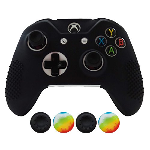 Hikfly Non-Slip Studded Rubber Oil Silicone Controller Cover With 4pcs Thumb Grips Caps Kit For Xbox One X/One S/Slim Controller(Black) (Cooler Slim Fan Super Ps3)