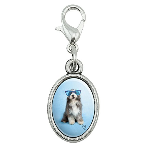 Graphics and More Sheepdog Bearded Collie Dog Giant Blue Sunglasses Antiqued Bracelet Pendant Zipper Pull Oval Charm with Lobster Clasp