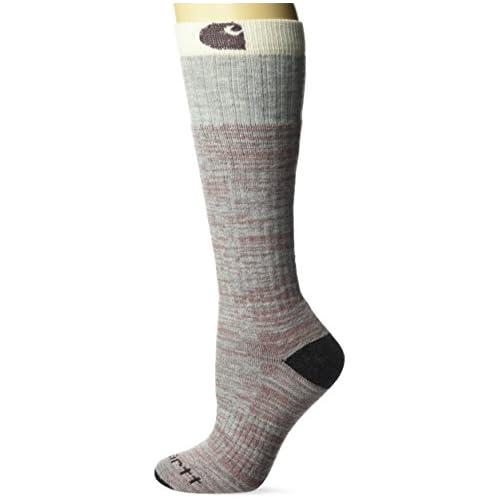 Carhartt Women's Knee High with Outdoor Scene Socks, Heather Gray, Shoe Size: 5.5 – 11.5 (Medium)