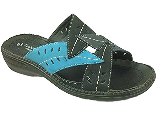 in Mules Sandal Sabrina Womens Walk Open Pink Blue Black Colours Pink Blue Cushion Various Black Back Gold Black nYBXnq