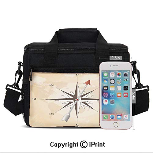 Insulated Lunch Bags For School With Bottle Holder Compass Rose with Metal Arrow on Vintage Grungy Background Travel Navigation Art Kids Lunch Box Snacks Tote Lunch Containers 3D Print Beige Red