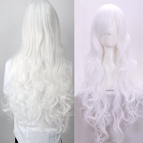 24 Inch Long Straight Anime Cosplay Wigs with Bangs Japanese Kanekalon Heat Resistant Synthetic Hair for Women Girls Halloween Costume(White) (Guys Being Girls For Halloween)