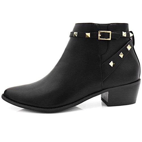 Black Womens K Ankle Toe Pointed Stud Allegra Low Stacked Heel Booties Strap xawq5P5