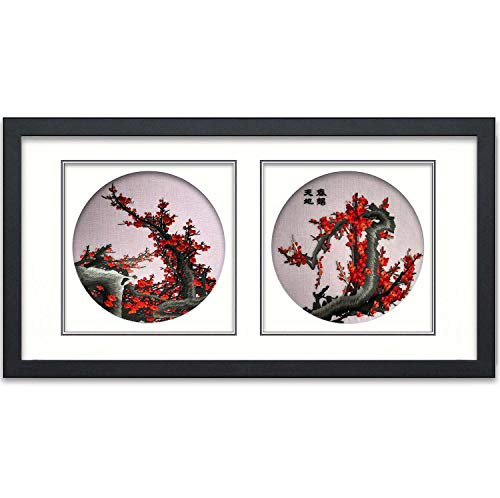 (King Silk Art 100% Handmade Embroidery New Designed Red Plum Blossom Flower Wall Hanging 13