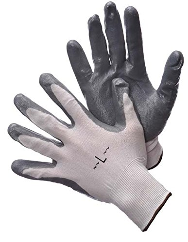4 PAIRS WHITE POLYESTER SHELL NITRILE COATING MACHINE KNIT WORK GLOVES 2 ASST COLORS 1PR TAG