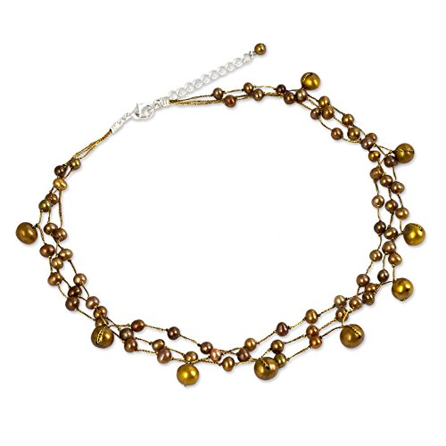 NOVICA Dyed Brown Cultured Freshwater Pearl Stainless Steel Choker Necklace, 15 , Cinnamon Glow