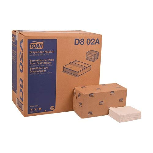 Tork D802A Advanced Soft Masterfold Dispenser Napkin, 1-Ply, 17.0'' Length x 12.0'' Width, White (Case of 12 Packs, 500 per Pack, 6,000 Napkins)