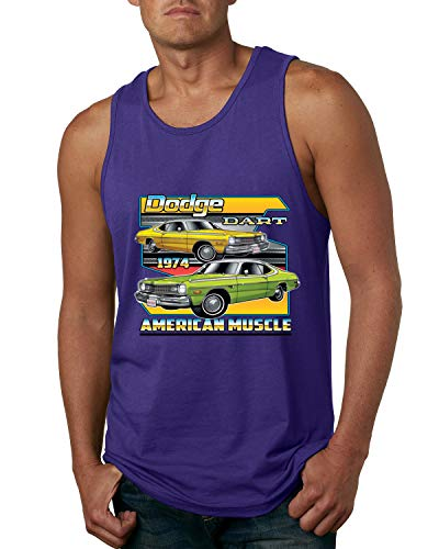 Dodge Dart 1974 Retro American Vintage Muscle Racer   Mens Cars and Trucks Graphic Tank Top, Purple, Small