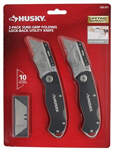 Utility Folding Knife Blue Lockback (Husky Folding Sure-Grip Lock Back Utility Knives Two Pack (2 x Husky Lock Back Knives 10 x Blades))