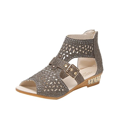 Women Sandles. Casual Fish Mouth Sandals Summer Plat Strappy String Flip Flops Shoes (38, Gold)