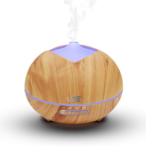 Essential Oil Diffuser, U2C 450ml Wood Grain Aromatherapy Diffuser Ultrasonic Aroma Diffuser Cool Mist Humidifier with Low Water Auto Shut-Off, 7 Color LED for Office Home Bedroom Study - Yellow (Bright Yellow Tulip)