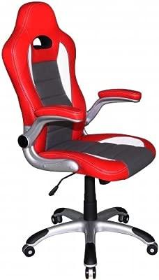 hjh OFFICE 621705 silla de gaming RACER SPORT piel sintética rojo / blanco, apoyabrazos plegables, respaldo inclinable, silla oficina, silla racing