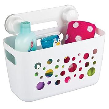Cesto organizador de baño mDesign color blanco con ventosas - Material resistente - Perfecto para el almacenamiento de productos como champú y cremas: ...