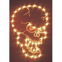 "Impact 16"" Lighted Halloween Spooky Skull Window Silhouette Decoration"
