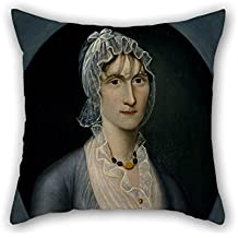 Alphadecor 16 X 16 Inches / 40 By 40 Cm Oil Painting Joshua Johnson - Portrait Of Mrs. Barbara Baker Murphy (Wife Of Sea Captain) Pillowcover,each Side Is Fit For Gril Friend,living Room,drawing Ro