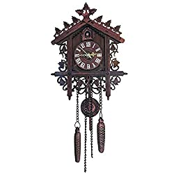LOVIVER Decorative Wood Wall Clock with Swinging Pendulum, Battery Operated, Wooden Bird House Design, for Living Room, Bathroom, Kitchen & Home Décor - Dark Brown