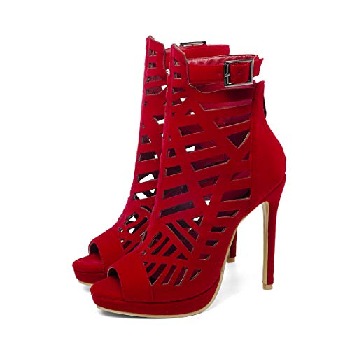 Slave Sandales Zipper Talon Élégant Vitalo Pin Haut Rouge Sexuel Donna Open Chaussures Plateau Avec CEtFwWwTqn