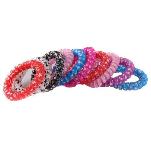 E-eyes 10pcs Plastic Stretchy Elastic Coiled Phone Wire Hair Bands Hair Tie  Ponytail Holder Band Multi-color Telephone Wire Cord Elastic Head Tie Hair  Band 7bfac1817e7