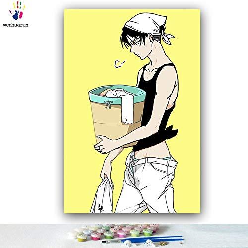 KYKDY DIY Farbgebung Bilder nach Zahlen mit Farben Angriff auf Titan Junior Comics Bild Zeichnung Malen nach Zahlen gerahmt Home, 0743,80x100 kein Rahmen