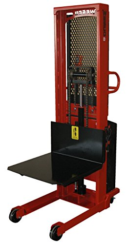 Wesco-Industrial-Products-261077-Fixed-Platform-Model-Power-Stacker-with-Ergonomic-D-Handle-1500-lb-Load-Capacity-90-Lift-Height-24-x-24-Platform-15-Inside-Base-Leg-Span-104-Overall-Height