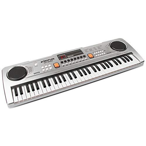 aPerfectLife 61 Keys Piano Keyboard for Kids Multifunction Portable Piano Electronic Keyboard Music Instrument for Kids Early Learning Educational Toy (Silver)