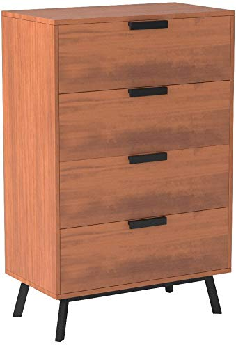 Mainstays Mid Century Modern 4 Drawers Chest in Vintage Umber Finish by Mainstay