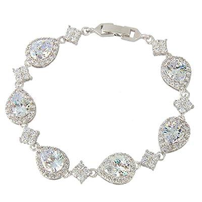 EVER FAITH Silver-Tone Full Zircon Wedding Tear Drop Link Bracelet