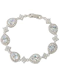 Silver-Tone Full Zircon Wedding Tear Drop Link Bracelet