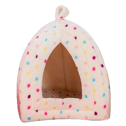 Coral Fleece Pet Bed Cozy Dog Cat Tent Lgloo (Colorful Light Pink)