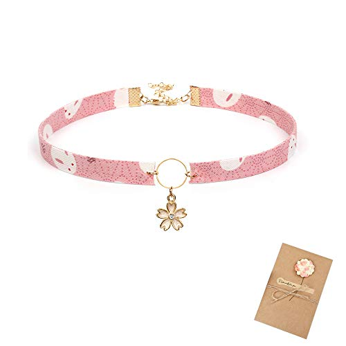 Tassel Drop Choker Women Cherry Blossoms Girls Cute Young Style Necklace with Greeting Card Pink
