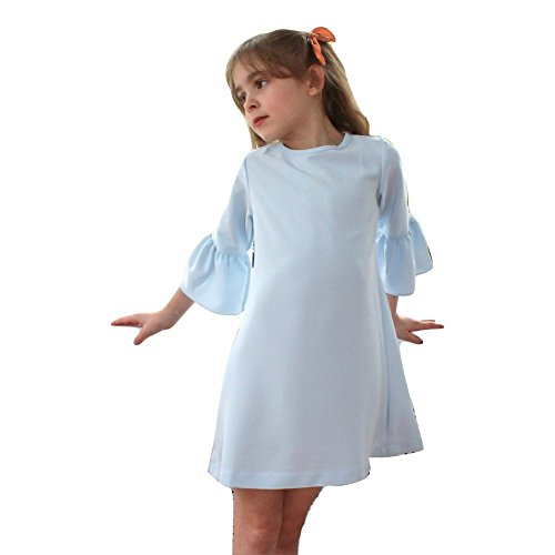 A.BIRD Big Girls Blue Ruffle Cuff Sleeve Classic Graceful Chloe Dress 7