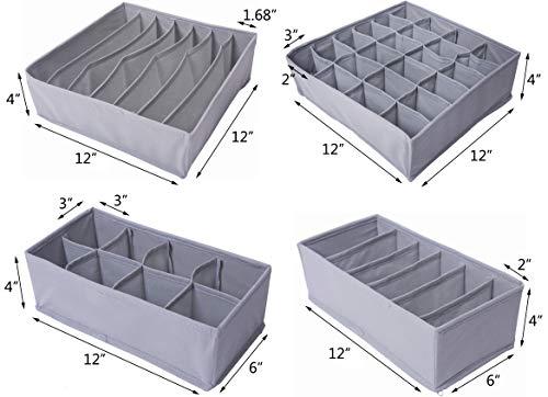 4b6b0aee8c70 Amelitory Underwear Organizer Drawer Divider Foldable for Bras Panties  Socks Ties 4 Set, Gray