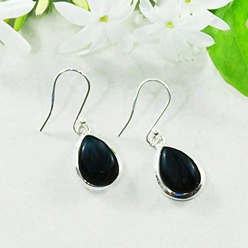"Sivalya 3.00 Ctw Pear Cut Natural Black Onyx Earrings in 925 Sterling Silver, Genuine Teardrop Shape Gemstone Solid Silver French Hook Dangle Earrings 1.5"""